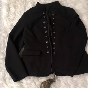 Amazing Black XL Lined Blazer w/ Silver Buttons